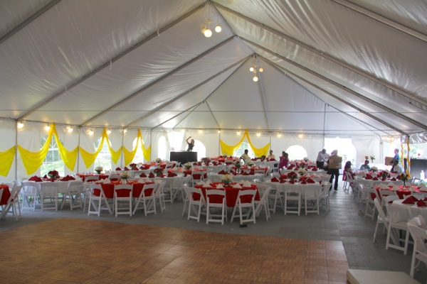Inside Tent - Seating, Linens, and Lighting